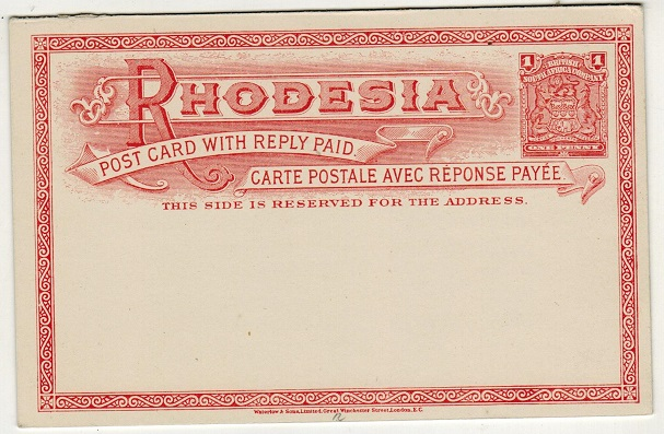 RHODESIA - 1899  1d+1d Brick red on white PSRC unused. H&G 12.