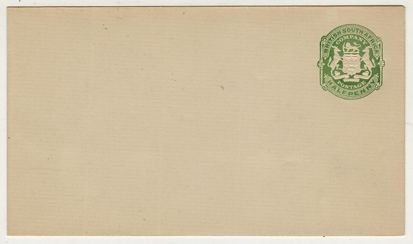 RHODESIA - 1904 1/2d green on cream laid paper PSE unused. H&G 1.