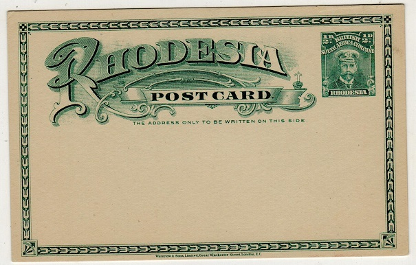 RHODESIA - 1913 1/2d blue-green on cream PSC unused. H&G 14a.