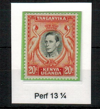 K.U.T. - 1938 20c black and orange (perf 13 1/4) in unmounted mint condition.  SG 139.