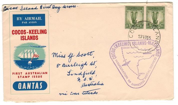 COCOS ISLANDS - 1955 first flight cover to Australia.