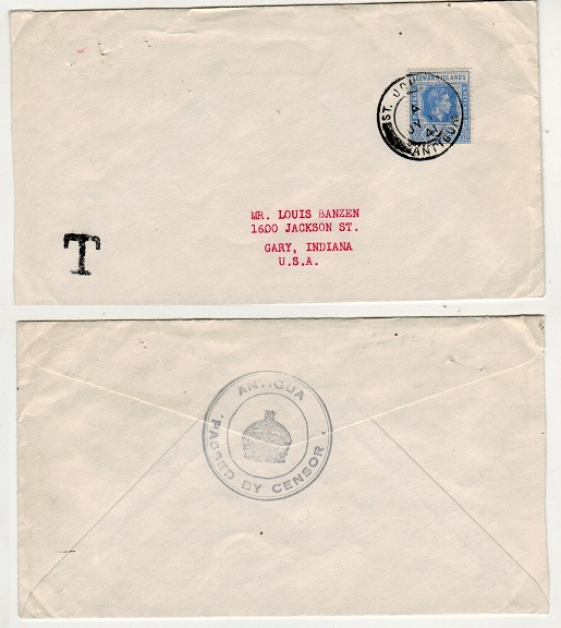 ANTIGUA - 1941 2 1/2d rate censor cover to USA.