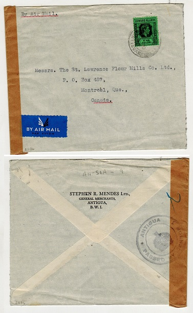 ANTIGUA - 1940 1/- rate censor cover to Canada.