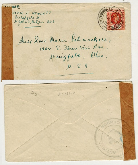 ANTIGUA - 1941 3d rate censor cover to USA.