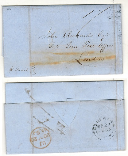 BRITISH GUIANA - 1850 1/- rated entire addressed to UK used at DEMERARA.