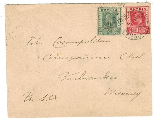 GAMBIA - 1910 1 1/2d rate cover to USA.