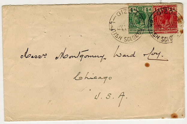 SOLOMON ISLANDS - 1926 1 1/2d rate cover to USA used at GIZO.