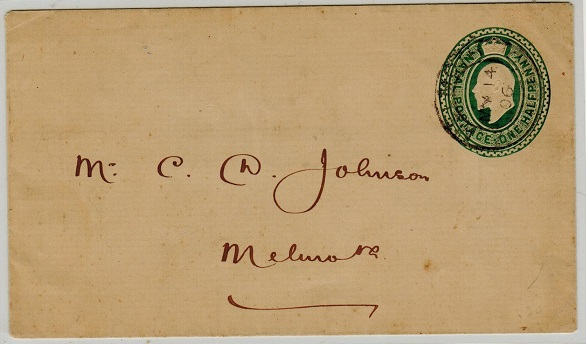 ZULULAND - 1902 1/2d green Natal PSE used locally and cancelled MELMOUTH/ZULULAND.