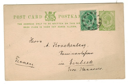 SOUTH AFRICA - 1913 1/2d yellow green PSC to Germany uprated and used at P.O.FRANKFORT.  H&G 1.