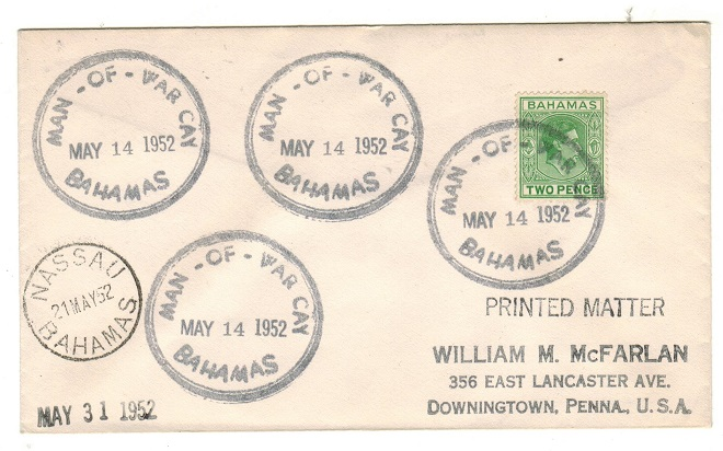 BAHAMAS - 1952 2d rate cover to USA used at MAN OF WAR CAY.