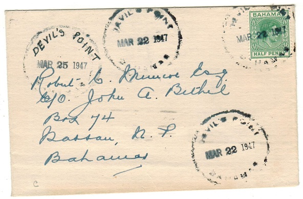 BAHAMAS - 1947 1/2d local rate cover used at DEVILS POINT.