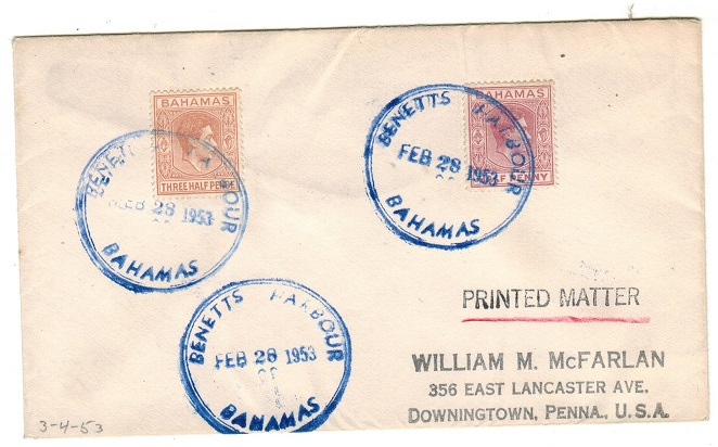 BAHAMAS - 1953 2d rate cover to USA used at BENNETTS HARBOUR.