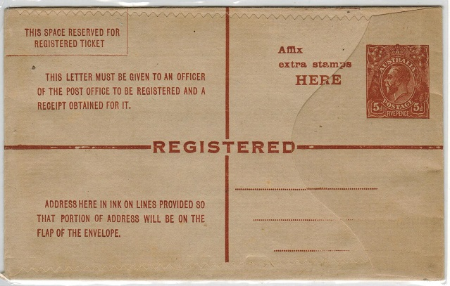 AUSTRALIA - 1922 5d brown RPSE unused (BW RE12).  H&G 15a.