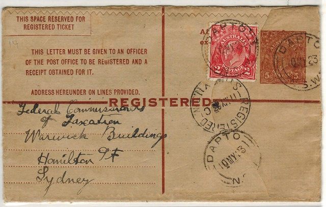 AUSTRALIA - 1922 5d brown RPSE uprated to Sydney at DAPTO/NSW.  H&G 16.