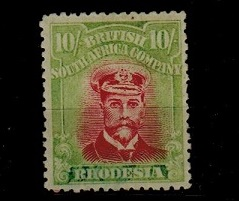 RHODESIA - 1922-23 10/- pale crimson and pale yellow green (colour variation) U/M.  SG 309.