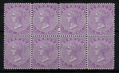 BERMUDA - 1874 6d dull mauve in a very fine fresh mint block of eight.  SG 7.