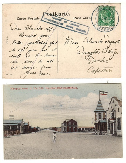 SOUTH WEST AFRICA - 1915 1/2d rate censored postcard use to Cape Town from KARIBIB.
