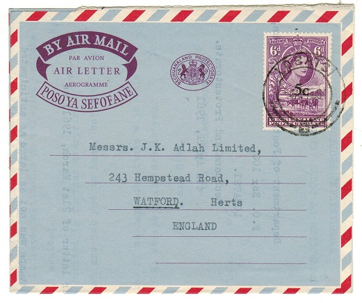 BECHUANALAND - 1961 5c on 6d violet surcharged air letter to UK used at LOBATSI.  H&G 9.