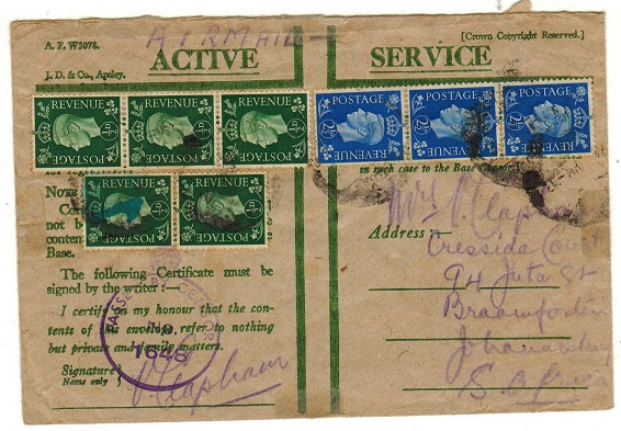 SOUTH AFRICA - 1942 inward censored