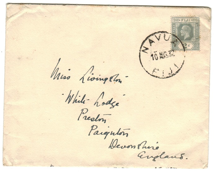 FIJI - 1932 2d rate cover to UK used at NAVUA/FIJI.
