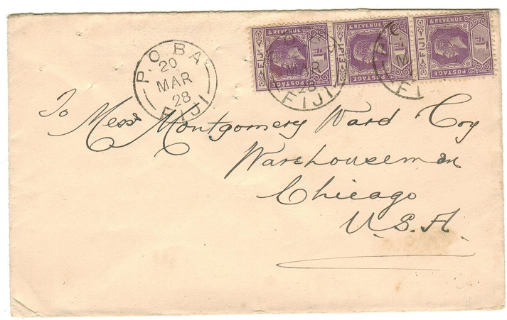 FIJI - 1928 3d rate cover to USA used at BA/FIJI.