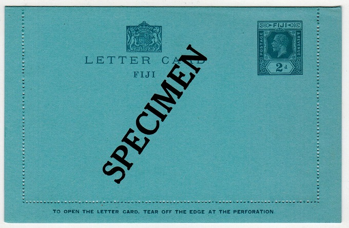 FIJI - 1927 2d grey on blue postal stationery letter card unused SPECIMEN.  H&G 2.