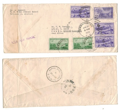 CAMEROONS - 1950 inward cover from USA with KUMBA CAMEROONS/U.U.K.T. skeleton arrival b/s.