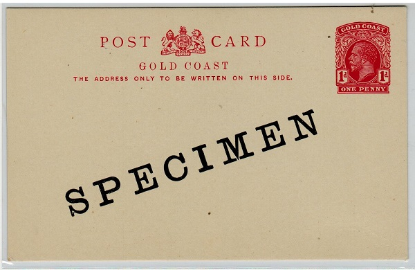 GOLD COAST - 1920 1d red PSC unused SPECIMEN.  H&G 9.