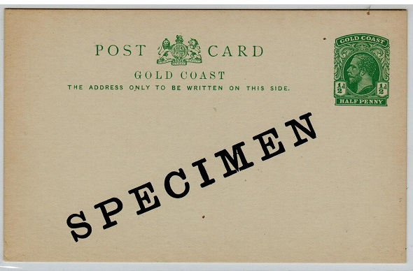 GOLD COAST - 1916 1/2d green PSC unused SPECIMEN.  H&G 7.