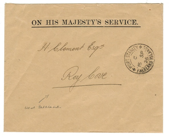 FALKLAND ISLANDS - 1926 OHMS envelope used locally to Roy Cove from PORT STANLEY.