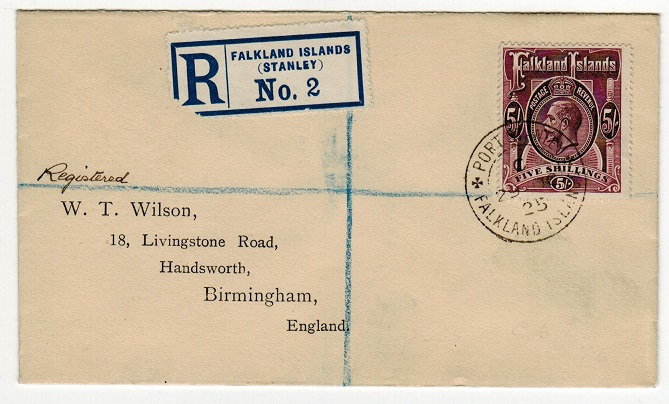 FALKLAND ISLANDS - 1925 5/- (SG 67b) on registered cover to UK used at PORT STANLEY.
