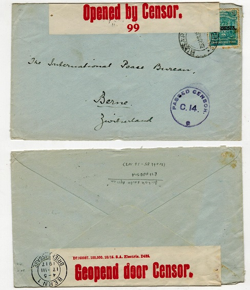 RHODESIA - 1917 2 1/2d rate censored cover to Switzerland used at RUSAPE.