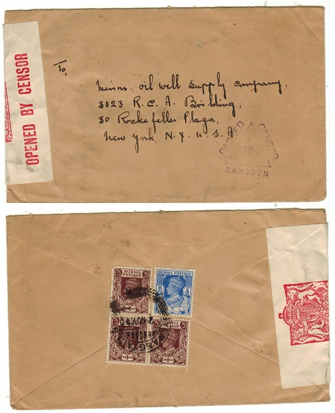 BURMA - 1940 censored cover to USA used at YENANGYAUNG.