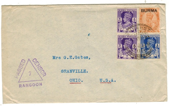 BURMA - 1940 censor cover to USA used at AMHERST.