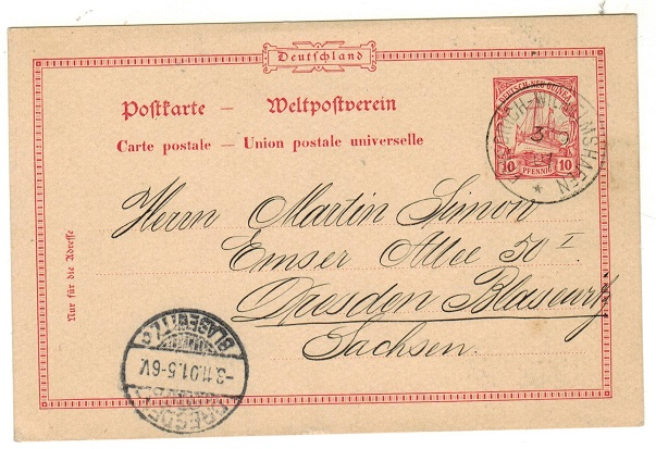 NEW GUINEA (German Offices) - 1900 10pfg PSC to Germany used at FRIEDRICH WILHELMSHAFEN.  H&G 9.