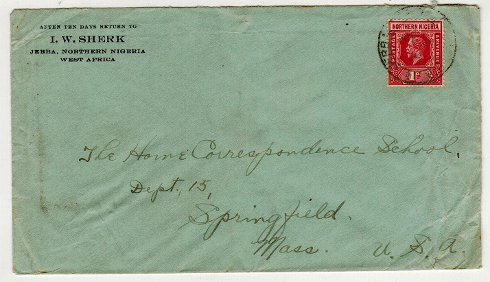 NORTHERN NIGERIA - 1914 1d rate cover to USA used at JEBBA.