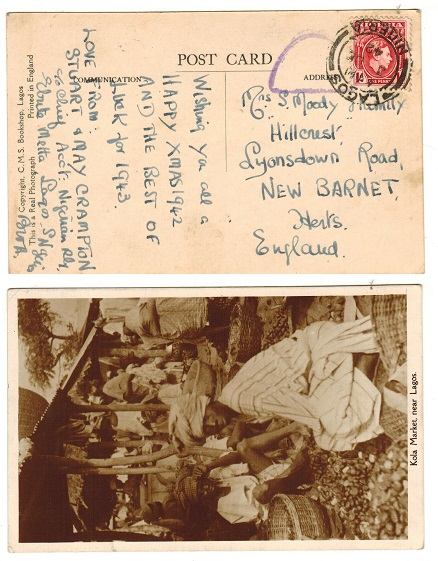 NIGERIA - 1942 1d rate censored postcard use to UK.