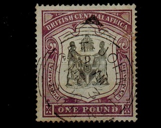 NYASALAND - 1897 £1 black and dull purple used.  SG 51.