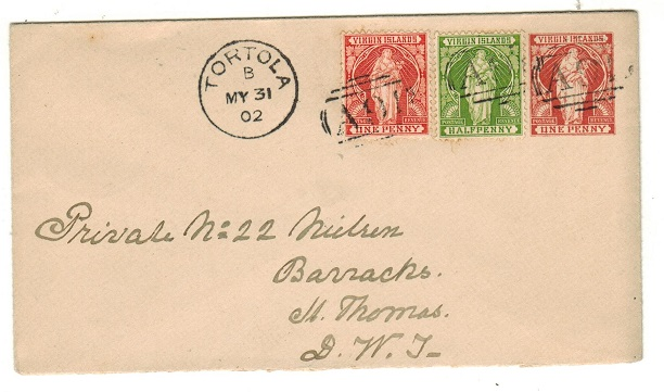 BR.VIRGIN ISLANDS - 1901 1d red-brown PSE uprated to St.Thomas at TORTOLA.  H&G 1a.