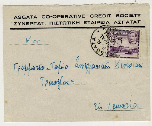 CYPRUS - 1940 local cover used at ASGATA/ER/RURAL SERVICE.