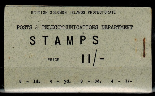 SOLOMON ISLANDS - 1956 11/- Black on grey complete BOOKLET.   SG SB2.
