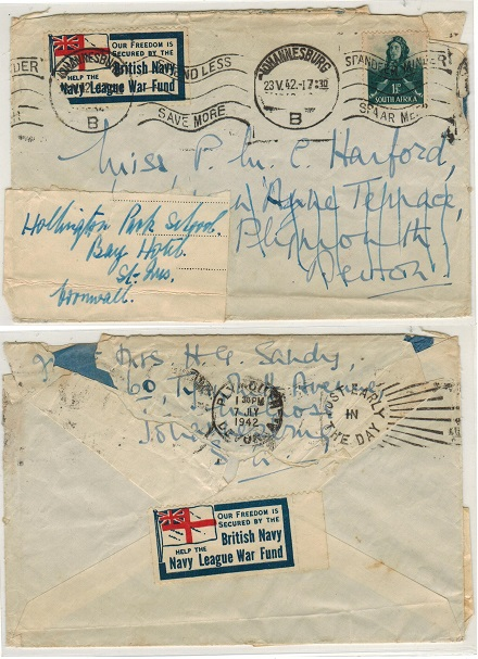 SOUTH AFRICA - 1942 1 1/2d rate cover to UK with