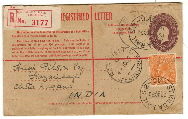 AUSTRALIA - 1928 4 1/2d violet RPSE to India uprated at ST.KILDA.  H&G 26.