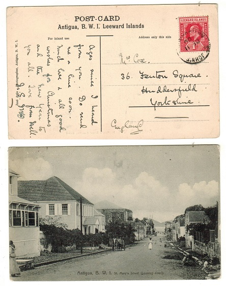 ANTIGUA - 1909 1d rate postcard to UK used at ST.JOHNS.