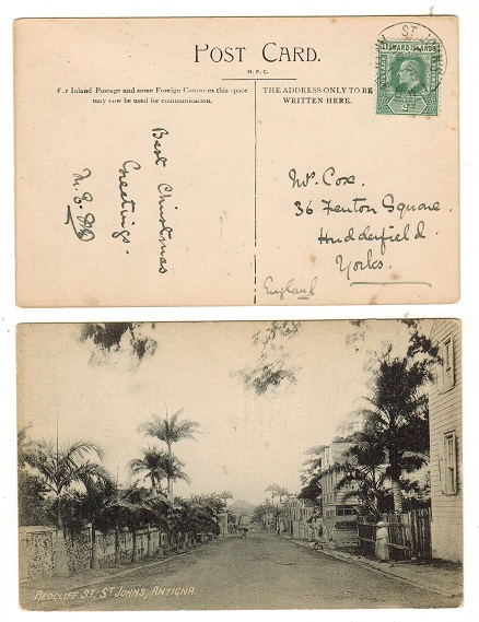 ANTIGUA - 1910 1/2d rate postcard use to UK used at ST.JOHNS.