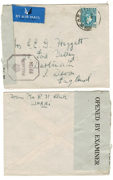 NIGERIA - 1944 1/3d rate censor cover to UK used at WARRI.