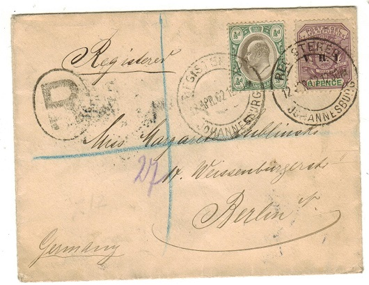 TRANSVAAL - 1902 6 1/2d rate registered cover to Germany used at JOHANNESBURG.
