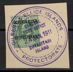 GILBERT AND ELLICE IS - 1911 1/2d (SG 1) used from BUTARITARI ISLAND.