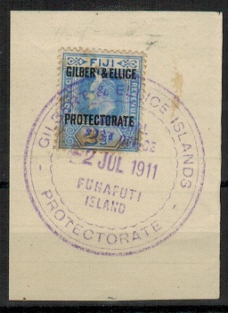 GILBERT AND ELLICE IS - 1911 2 1/2d (SG 4) used at FUNAFUTI ISLAND.