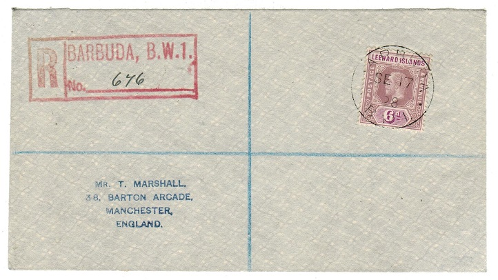 BARBUDA -  1928 6d rate registered cover to UK used at BARBUDA.